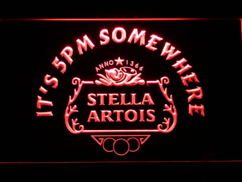 Stella Artois Crest It's 5pm Somewhere LED Neon Sign - Red - SafeSpecial