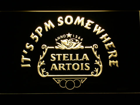 Stella Artois Crest It's 5pm Somewhere LED Neon Sign - Yellow - SafeSpecial