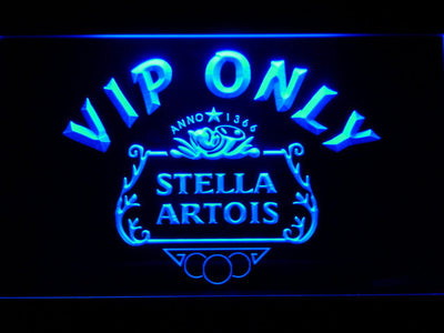 Stella Artois Crest VIP Only LED Neon Sign - Blue - SafeSpecial