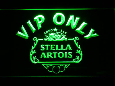 Stella Artois Crest VIP Only LED Neon Sign - Green - SafeSpecial
