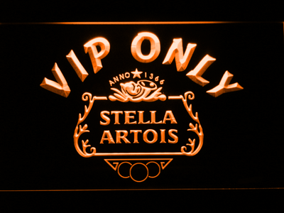 Stella Artois Crest VIP Only LED Neon Sign - Orange - SafeSpecial