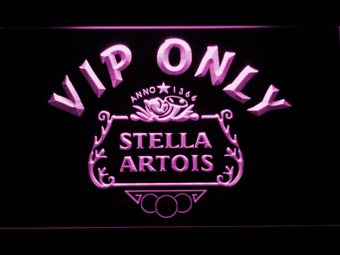 Image of Stella Artois Crest VIP Only LED Neon Sign - Purple - SafeSpecial