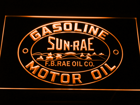 Image of Sunrae Gasoline & Motor Oil LED Neon Sign - Orange - SafeSpecial