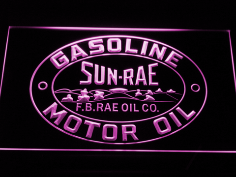 Image of Sunrae Gasoline & Motor Oil LED Neon Sign - Purple - SafeSpecial