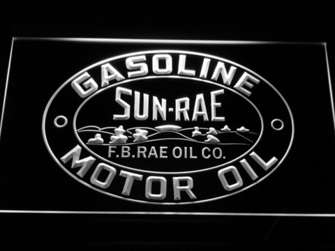 Image of Sunrae Gasoline & Motor Oil LED Neon Sign - White - SafeSpecial