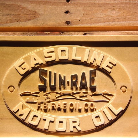 Image of Sunrae Gasoline & Motor Oil Wooden Sign - - SafeSpecial