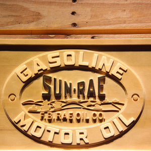 Sunrae Gasoline & Motor Oil Wooden Sign - - SafeSpecial