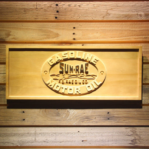 Image of Sunrae Gasoline & Motor Oil Wooden Sign - Small - SafeSpecial