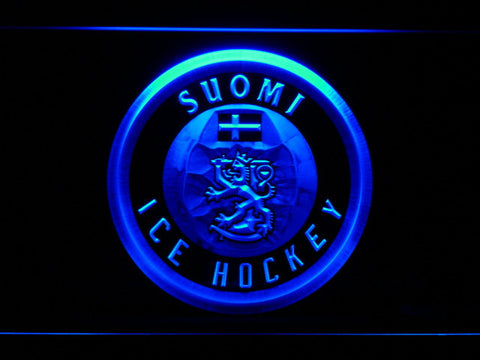 Suomi Ice Hockey LED Neon Sign - Blue - SafeSpecial