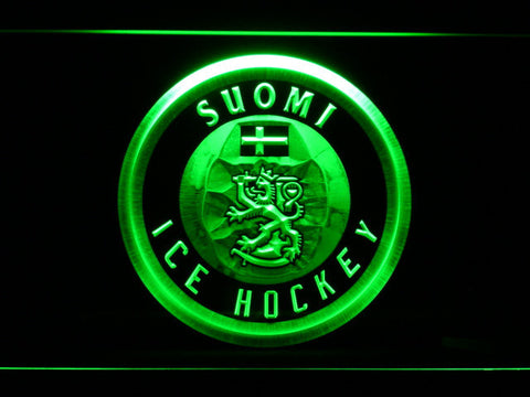 Image of Suomi Ice Hockey LED Neon Sign - Green - SafeSpecial