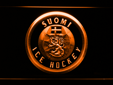 Suomi Ice Hockey LED Neon Sign - Orange - SafeSpecial