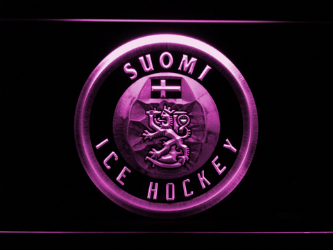 Image of Suomi Ice Hockey LED Neon Sign - Purple - SafeSpecial