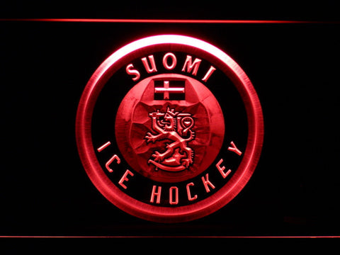 Image of Suomi Ice Hockey LED Neon Sign - Red - SafeSpecial