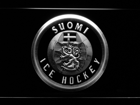 Image of Suomi Ice Hockey LED Neon Sign - White - SafeSpecial
