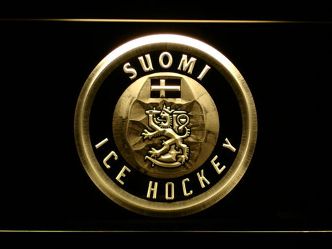Suomi Ice Hockey LED Neon Sign - Yellow - SafeSpecial