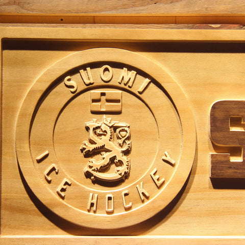 Image of Suomi Ice Hockey Wooden Sign - - SafeSpecial