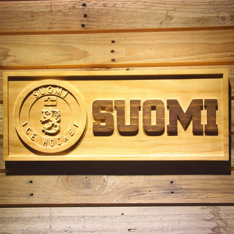 Image of Suomi Ice Hockey Wooden Sign - Small - SafeSpecial