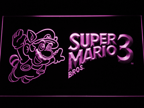 Image of Super Mario Bros. 3 LED Neon Sign - Purple - SafeSpecial
