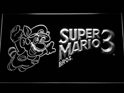 Image of Super Mario Bros. 3 LED Neon Sign - White - SafeSpecial