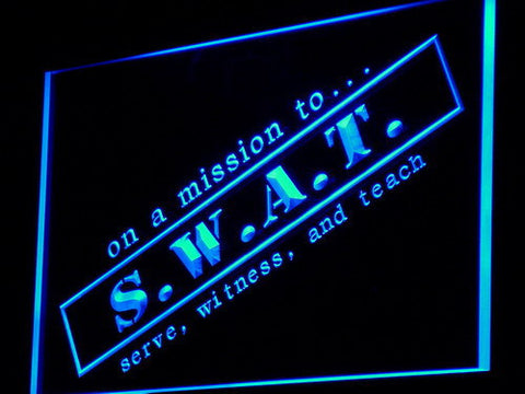 Image of S.W.A.T. Serve Witness And Teach LED Neon Sign - Blue - SafeSpecial