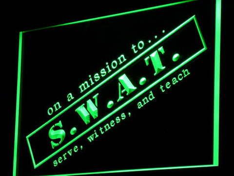 Image of S.W.A.T. Serve Witness And Teach LED Neon Sign - Green - SafeSpecial