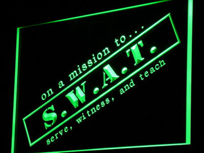 S.W.A.T. Serve Witness And Teach LED Neon Sign - Green - SafeSpecial