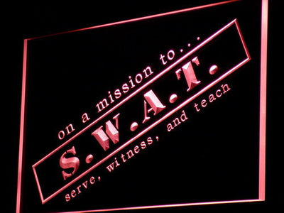 S.W.A.T. Serve Witness And Teach LED Neon Sign - Red - SafeSpecial