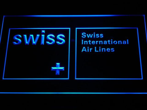 Swiss International Airlines LED Neon Sign - Blue - SafeSpecial