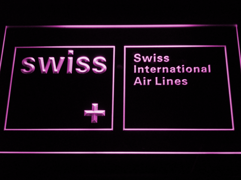 Swiss International Airlines LED Neon Sign - Purple - SafeSpecial