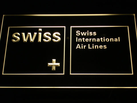 Swiss International Airlines LED Neon Sign - Yellow - SafeSpecial