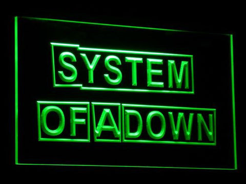 Image of System Of A Down LED Neon Sign - Green - SafeSpecial