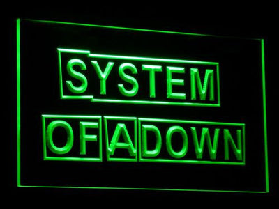 System Of A Down LED Neon Sign - Green - SafeSpecial