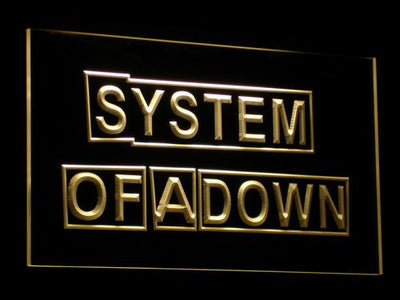 System Of A Down LED Neon Sign - Yellow - SafeSpecial