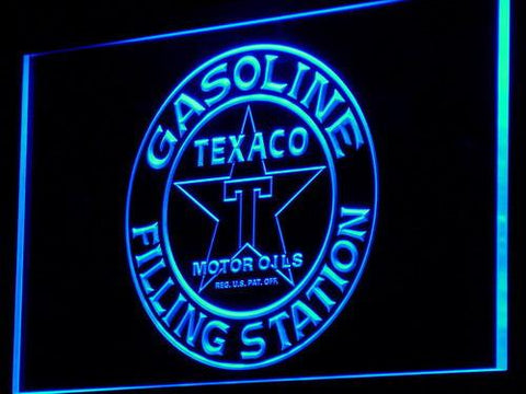 Texaco Gasoline Filling Station LED Neon Sign - Blue - SafeSpecial