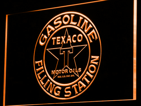 Texaco Gasoline Filling Station LED Neon Sign - Orange - SafeSpecial