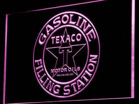 Texaco Gasoline Filling Station LED Neon Sign - Purple - SafeSpecial