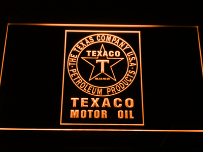Texaco Motor Oil LED Neon Sign - Orange - SafeSpecial