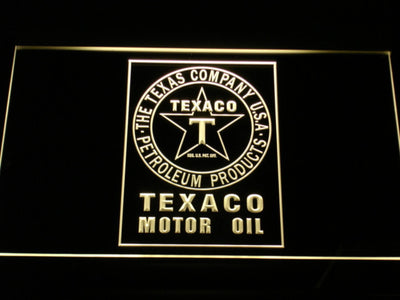Texaco Motor Oil LED Neon Sign - Yellow - SafeSpecial