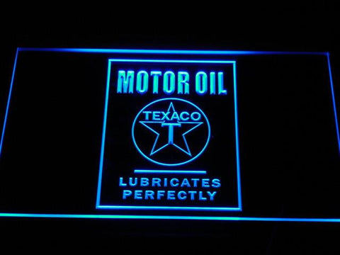 Texaco Motor Oil - Lubricates Perfectly LED Neon Sign - Blue - SafeSpecial