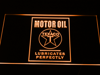 Texaco Motor Oil - Lubricates Perfectly LED Neon Sign - Orange - SafeSpecial
