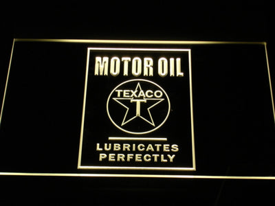 Texaco Motor Oil - Lubricates Perfectly LED Neon Sign - Yellow - SafeSpecial