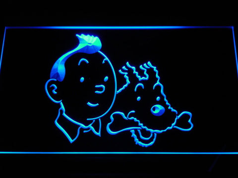 Image of The Adventures of Tintin Tintin and Snowy LED Neon Sign - Blue - SafeSpecial