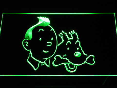 Image of The Adventures of Tintin Tintin and Snowy LED Neon Sign - Green - SafeSpecial