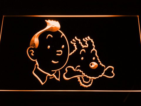 Image of The Adventures of Tintin Tintin and Snowy LED Neon Sign - Orange - SafeSpecial