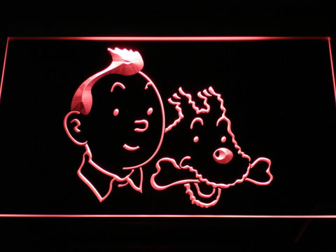 Image of The Adventures of Tintin Tintin and Snowy LED Neon Sign - Red - SafeSpecial