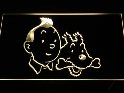 Image of The Adventures of Tintin Tintin and Snowy LED Neon Sign - Yellow - SafeSpecial