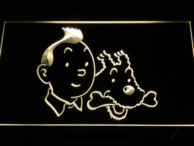 The Adventures of Tintin Tintin and Snowy LED Neon Sign - Yellow - SafeSpecial