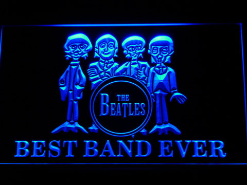 The Beatles Drum Best Band Ever LED Neon Sign - Blue - SafeSpecial