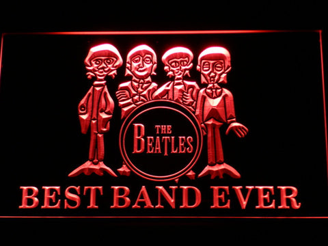 The Beatles Drum Best Band Ever LED Neon Sign - Red - SafeSpecial
