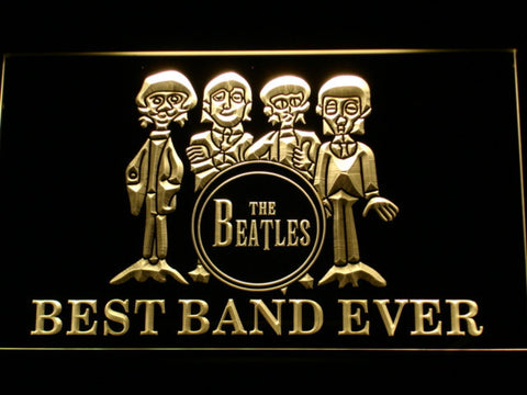 The Beatles Drum Best Band Ever LED Neon Sign - Yellow - SafeSpecial